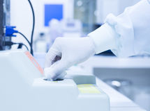 Blurred hand scientist working Royalty Free Stock Images