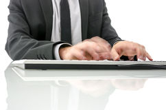 Blurred hands typing Stock Photography