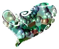 Blurred heart, plastic green bubbles background Royalty Free Stock Photo