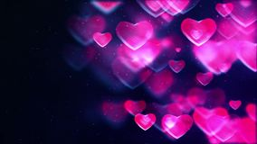 Blurred hearts background. Blurred purple hearts animated background stock footage