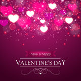 Blurred hearts and sparkles, purple Stock Photo