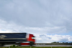 Blurred heavy truck on highway Royalty Free Stock Photo