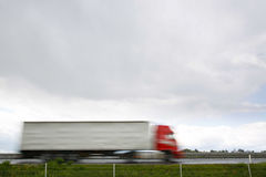 Blurred heavy truck on highway Royalty Free Stock Photography