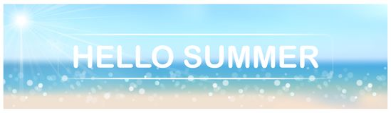 Blurred Hello Summer Banner with Bokeh Effect. Illustration with Lighting Sun and Sandy Beach and Turquoise Sea, Vector vector illustration