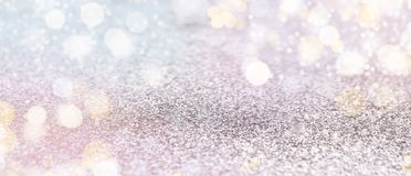Blurred holiday panorama background with bokeh lights. Blurred panorama background with bokeh. Christmas and Happy New Year greeting card, copy space stock photography