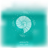 Blurred illustration with ammonites. Vector illustration. Sea theme Stock Image