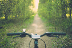 Blurred image of bike handle bar Royalty Free Stock Photos
