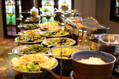 Blurred image breakfast buffet table at hotel restaurant Royalty Free Stock Images