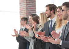 Blurred image of business team applauding. Business background stock photography