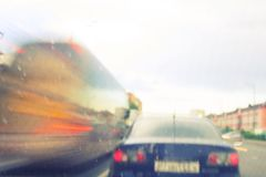 Blurred image of cars. Lights and traffic Royalty Free Stock Images