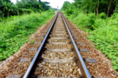 Blurred image of close-up railway tract Stock Image