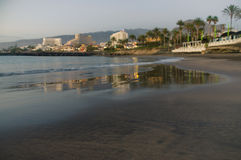 Blurred image of Costa Adeje by evening, Tenerife stock photo