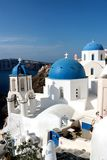 Blurred image of the famous 3 Blue Domes at Santorini.  Stock Images
