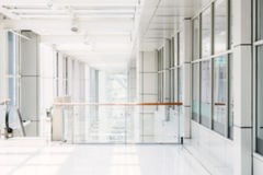 Blurred image of glass wall building interior Royalty Free Stock Image