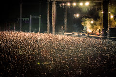 Blurred Image of Huge Crow of People at Music concert,, Horizont Royalty Free Stock Photos