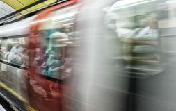 Blurred image of London underground train moving fast Stock Images