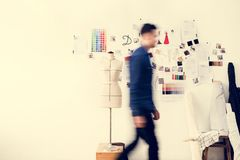Blurred image of a man walking. In a room Royalty Free Stock Image