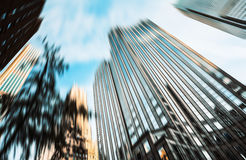 Blurred image of Manhattan buildings Stock Images