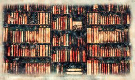 Blurred Image many old books on bookshelf in library Stock Photos