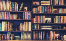 Blurred Image Many old books on bookshelf in library . Royalty Free Stock Image