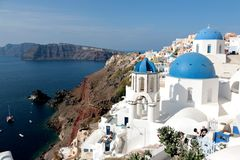 Free Blurred Image Of The Famous 3 Blue Domes At Santorini Royalty Free Stock Photography - 104234987