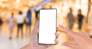 Blurred image of people walking at shopping mall , blur backgrou Stock Photo