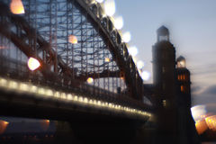 Blurred image of Peter the Great bridge, St. Petersburg, Russia Royalty Free Stock Photo