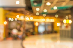 Blurred image of shopping mall and restaurant. Royalty Free Stock Images