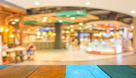 Blurred image of shopping mall and restaurant. Royalty Free Stock Photo