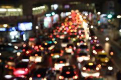 Blurred image of trafficat night in thailand Royalty Free Stock Photography