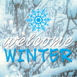Blurred image with welcome winter message Stock Photography