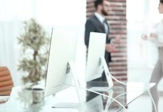 Blurred image of a workplace in the office. business background. Photo with copy space Stock Image