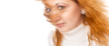 Blurred image of young attractive redhead girl Stock Images