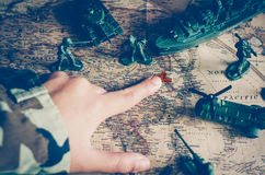 Blurred images of soldiers and tactical battle troops. But focus Stock Photo