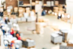 Blurred interior of modern spare parts warehouse royalty free stock image