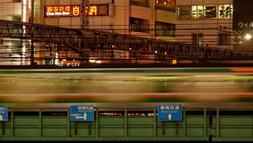 Blurred Japan Rail Train Passes over Bridge in Central Tokyo Japan stock video footage