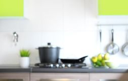 Blurred kitchen interior. Royalty Free Stock Photo