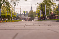 Blurred landscape with focus in the middle of the frame, Moscow Royalty Free Stock Image