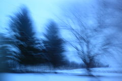 Blurred Landscape in Winter Royalty Free Stock Photo