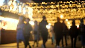 Light night market Christmas people New Year stock video