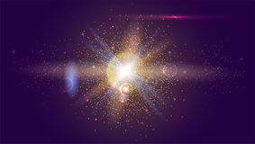 Blurred light rays and lens flare backdrop. Glow light effect. Star burst with sparkles. Abstract bright motion Royalty Free Stock Photography