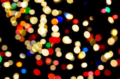 Blurred lights abstract color black background. For holidays Stock Photography
