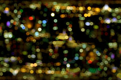 Blurred lights of bokeh from top view, city at night Stock Image