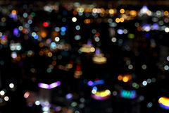 Blurred lights of bokeh from top view, city at night Royalty Free Stock Images