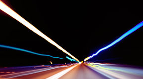 Blurred lights captured. Taken while driving at night in the tunnel Royalty Free Stock Image