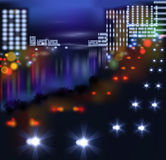 Blurred lights in city night. Vector illustration Stock Image