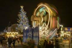 Blurred lights of ferris wheel at Xmas market, Stuttgart Stock Images