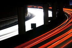 Blurred Lights On Highway At Night. Light trails of traffic on highway at night Royalty Free Stock Images