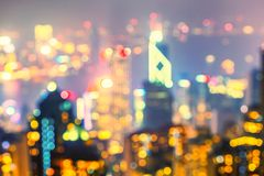 Blurred lights of Hong Kong skyline Royalty Free Stock Images