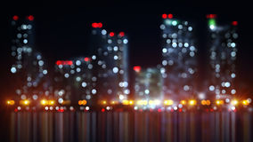 Blurred lights of night city with reflection Royalty Free Stock Photo